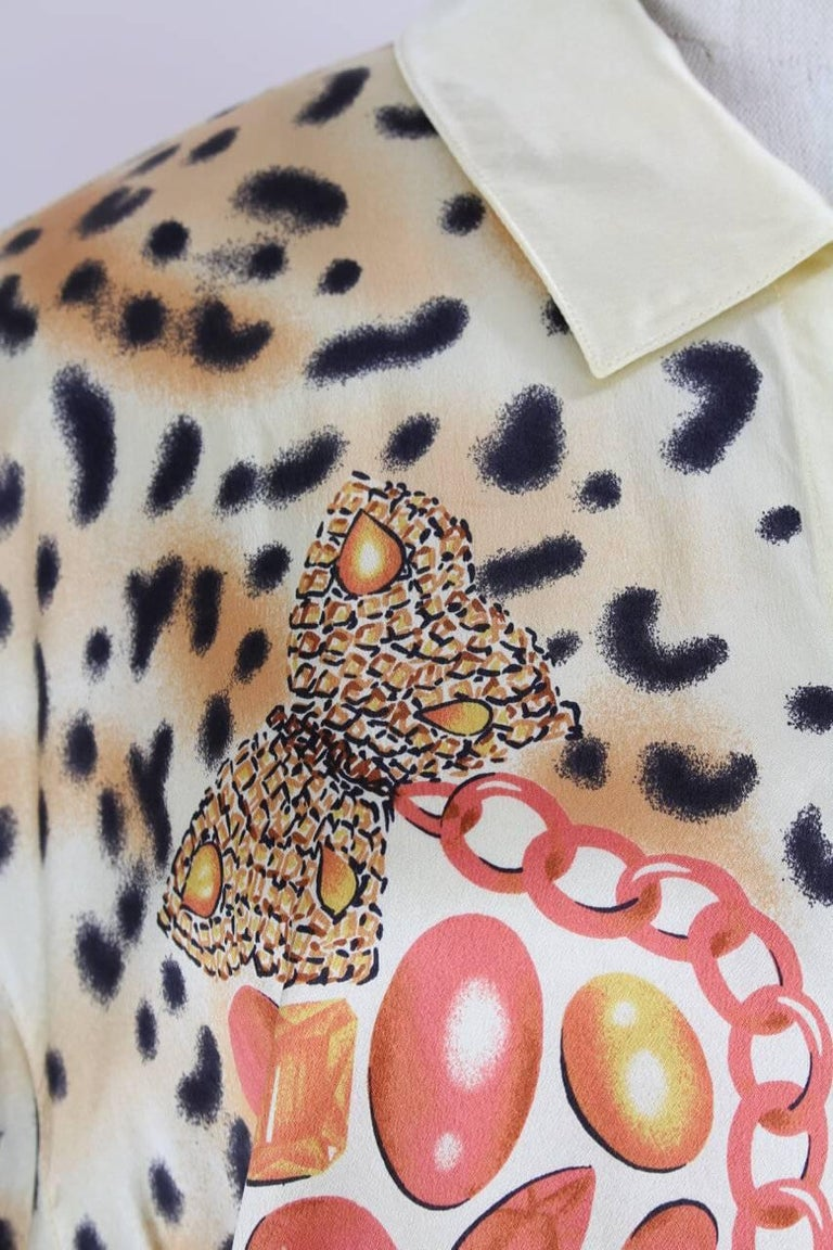 Escada 1980s Light Gold Animal And Gem Print Silk Blouse For Sale 1