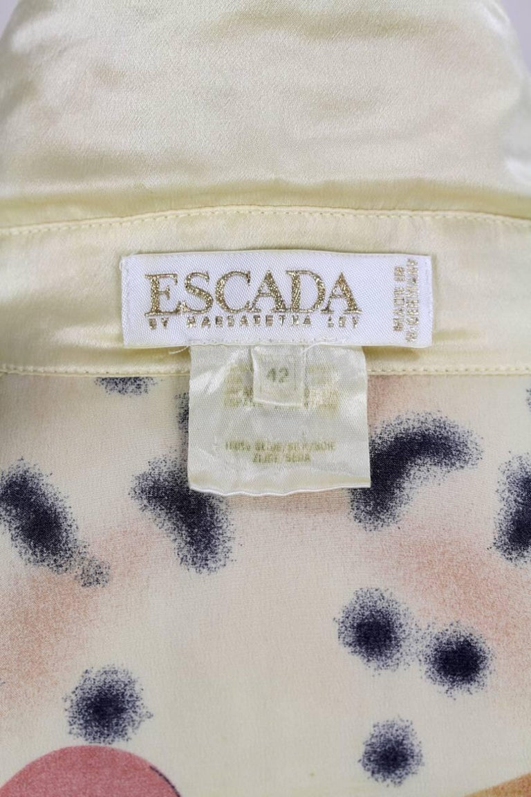 Escada 1980s Light Gold Animal And Gem Print Silk Blouse For Sale 4