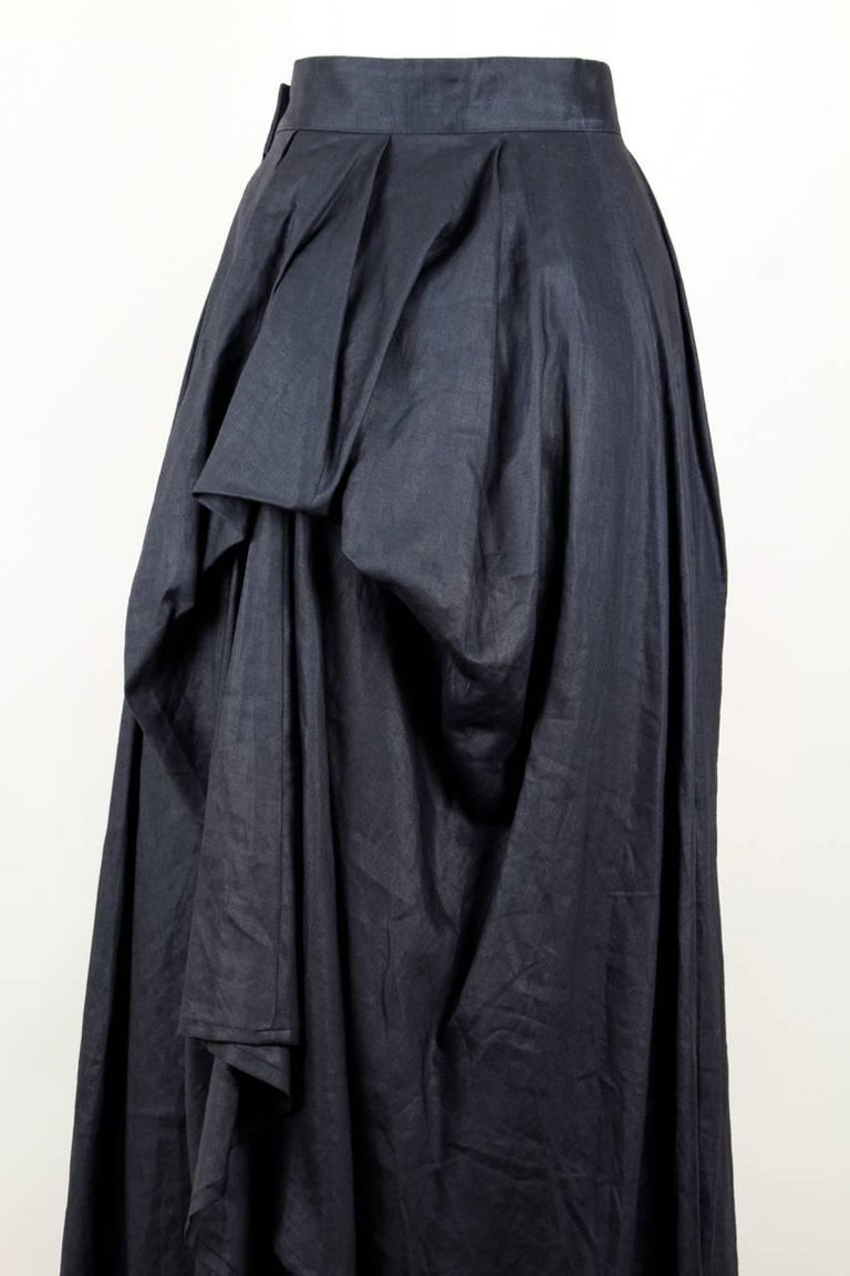 Yohji Yamamoto Charcoal Grey Linen Draped Maxi Skirt, 1990s  For Sale 1