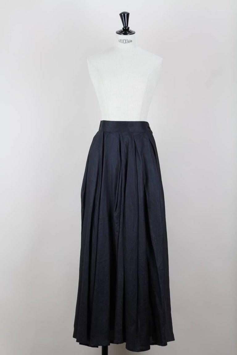 Black Yohji Yamamoto Charcoal Grey Linen Draped Maxi Skirt, 1990s  For Sale