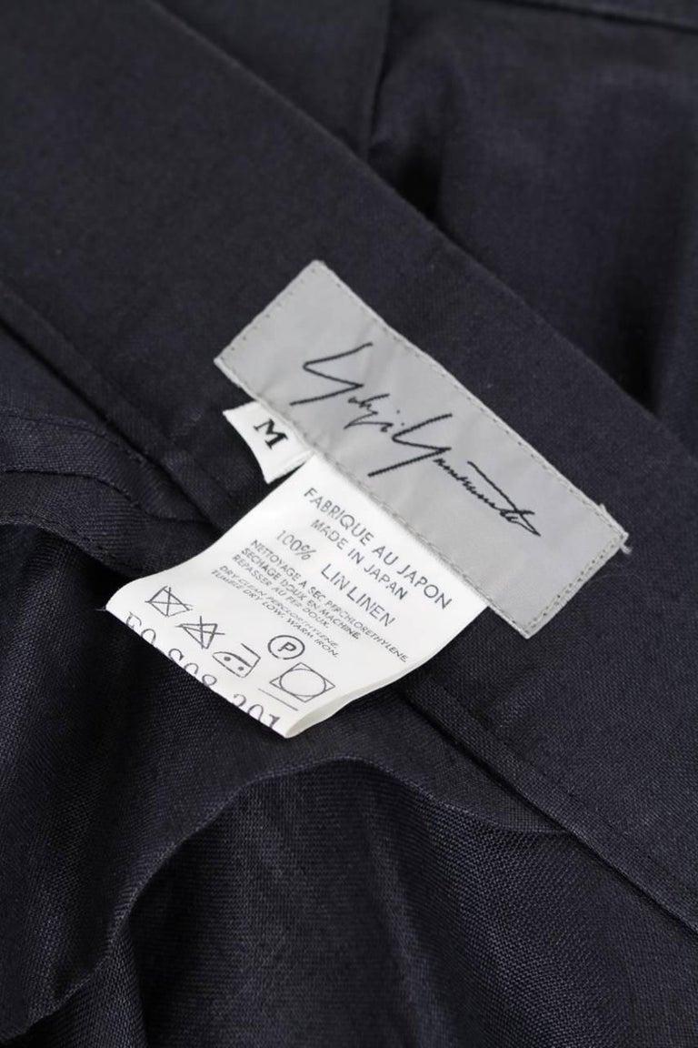 Yohji Yamamoto Charcoal Grey Linen Draped Maxi Skirt, 1990s  For Sale 2