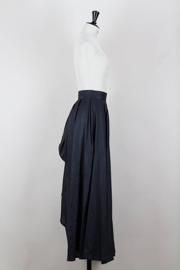 Women's Yohji Yamamoto Charcoal Grey Linen Draped Maxi Skirt, 1990s  For Sale