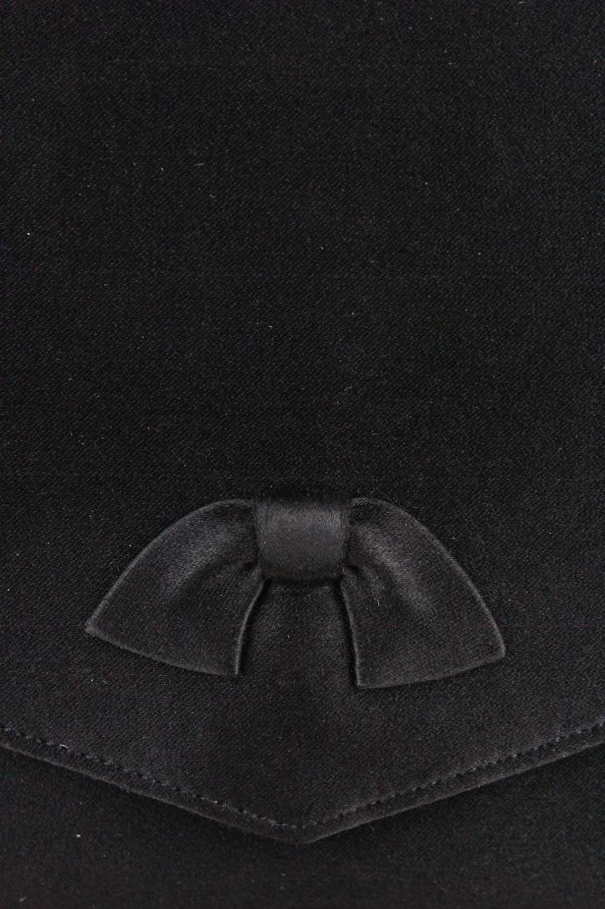 Dior Black Silk Bow Evening Clutch Bag With Original Box, 1960s