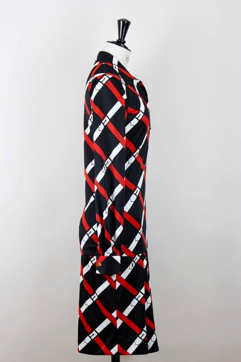 Roberta di Camerino 1977 Black Jersey Signature Belt Print Two Piece Dress In Excellent Condition For Sale In Munich, DE