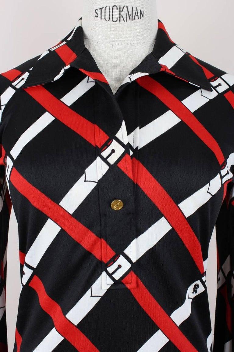 Roberta di Camerino 1977 Black Jersey Signature Belt Print Two Piece Dress For Sale 2
