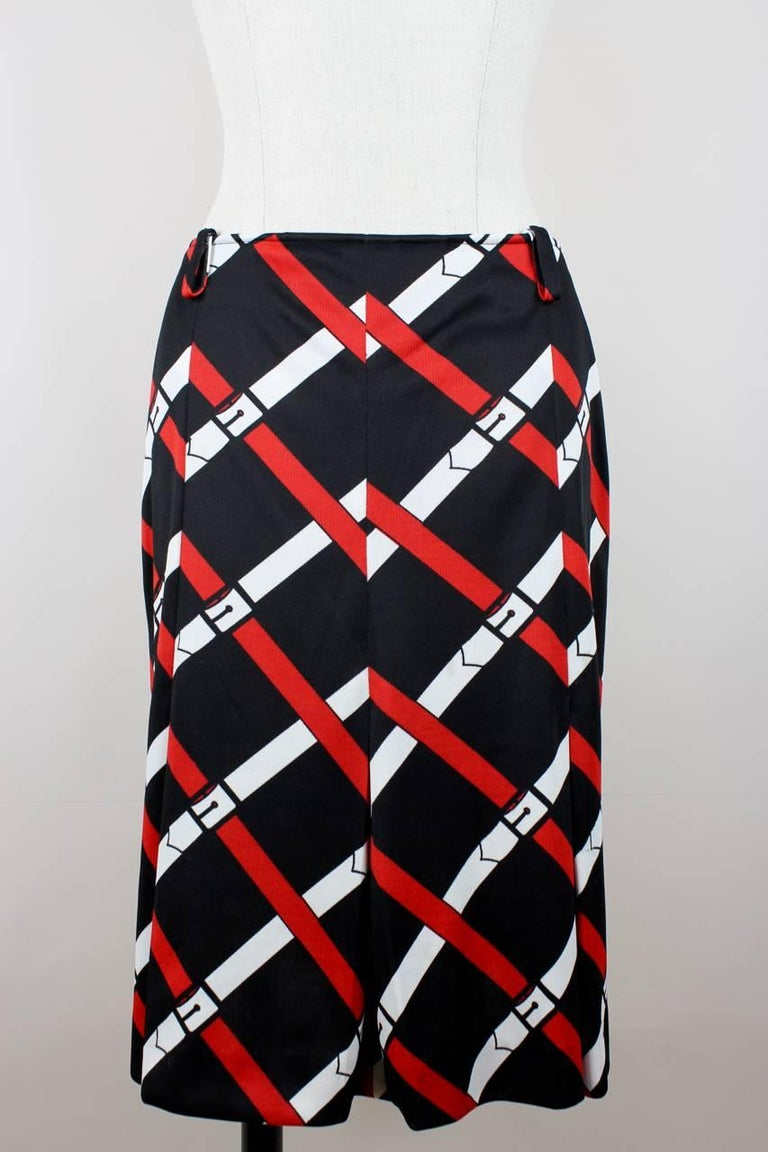 Roberta di Camerino 1977 Black Jersey Signature Belt Print Two Piece Dress For Sale 1
