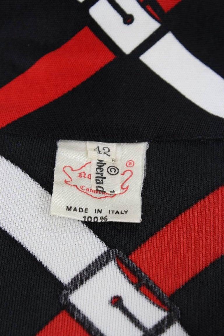 Roberta di Camerino 1977 Black Jersey Signature Belt Print Two Piece Dress For Sale 4