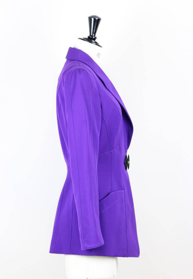 Thierry Mugler Paris 1980s Vibrant Purple Wool Fitted Jacket Blazer 3