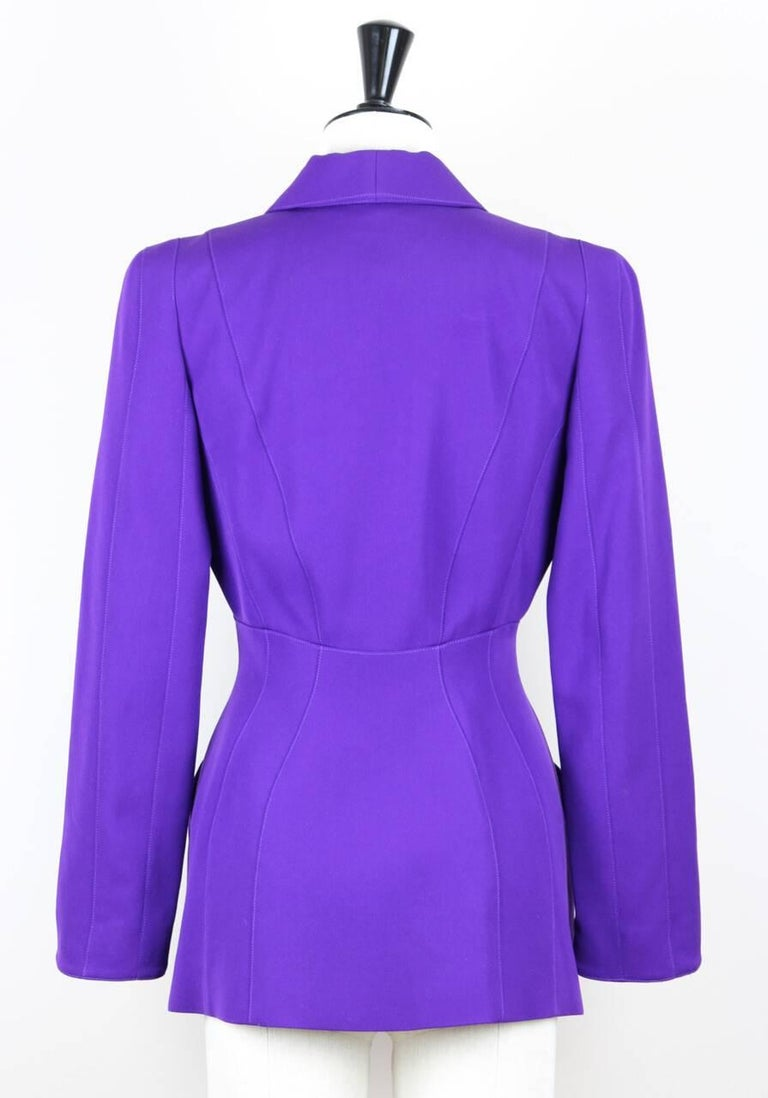 Thierry Mugler Paris 1980s Vibrant Purple Wool Fitted Jacket Blazer 2