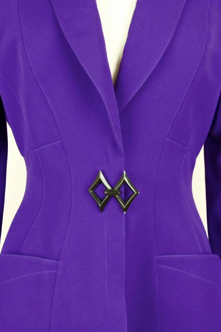 Thierry Mugler Paris 1980s Vibrant Purple Wool Fitted Jacket Blazer 6