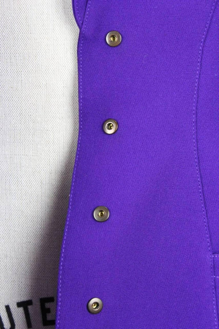 Thierry Mugler Paris 1980s Vibrant Purple Wool Fitted Jacket Blazer 7