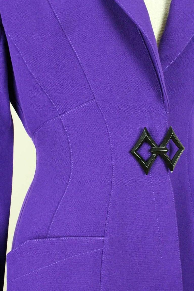 Thierry Mugler Paris 1980s Vibrant Purple Wool Fitted Jacket Blazer 5