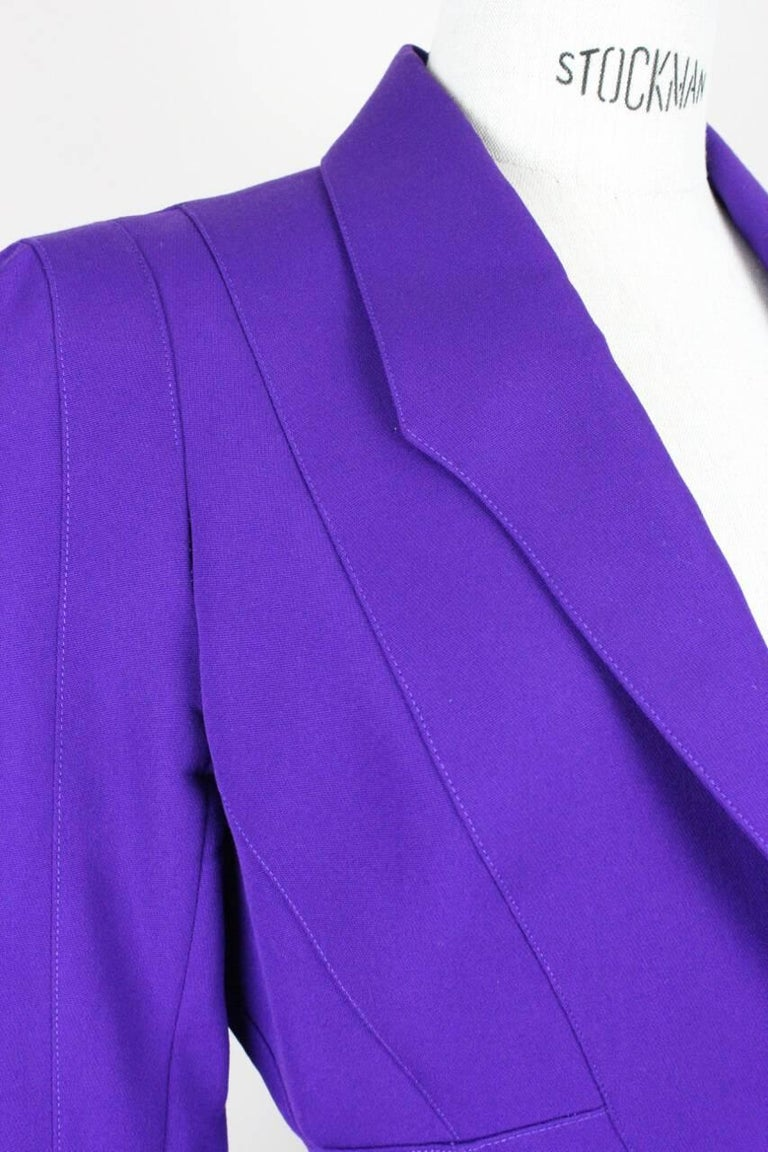 Thierry Mugler Paris 1980s Vibrant Purple Wool Fitted Jacket Blazer 4