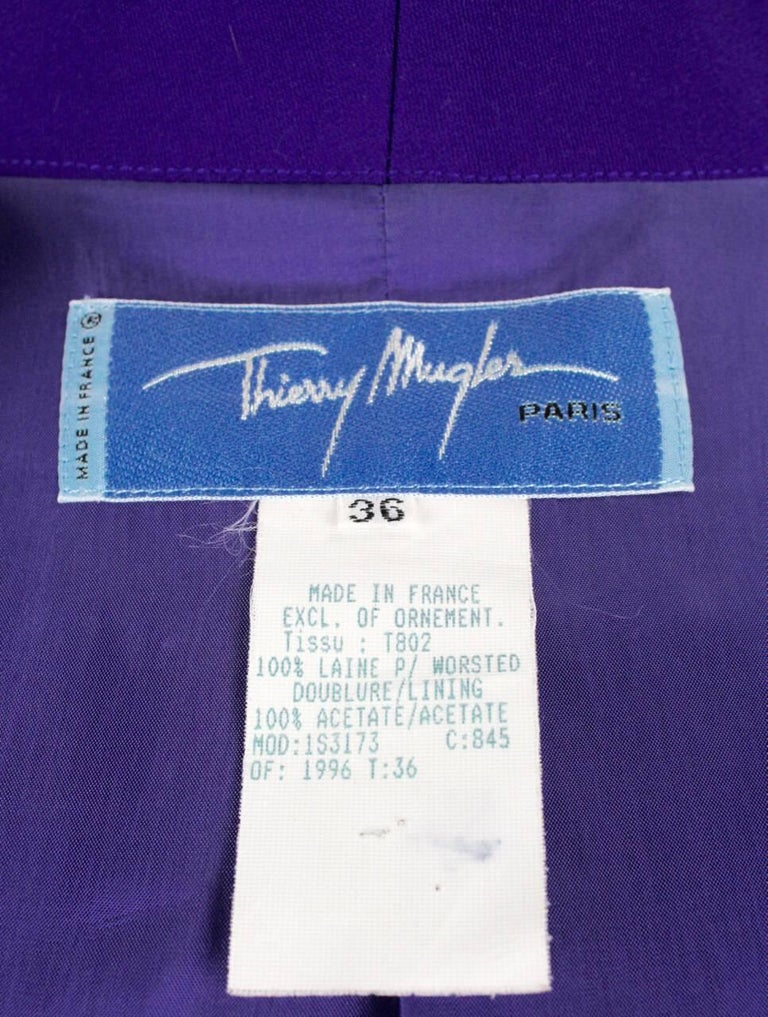 Thierry Mugler Paris 1980s Vibrant Purple Wool Fitted Jacket Blazer 8