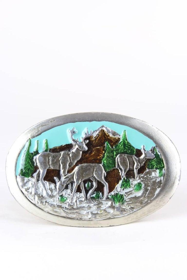 1970s Silver Metal Heavy Belt Buckle With Enamel Deer & Mountain Motif For Sale 1