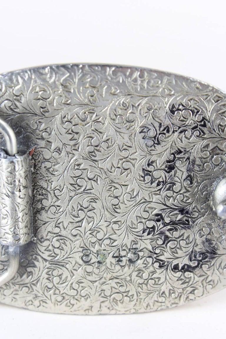 1970s Silver Metal Heavy Belt Buckle With Enamel Deer & Mountain Motif For Sale 3