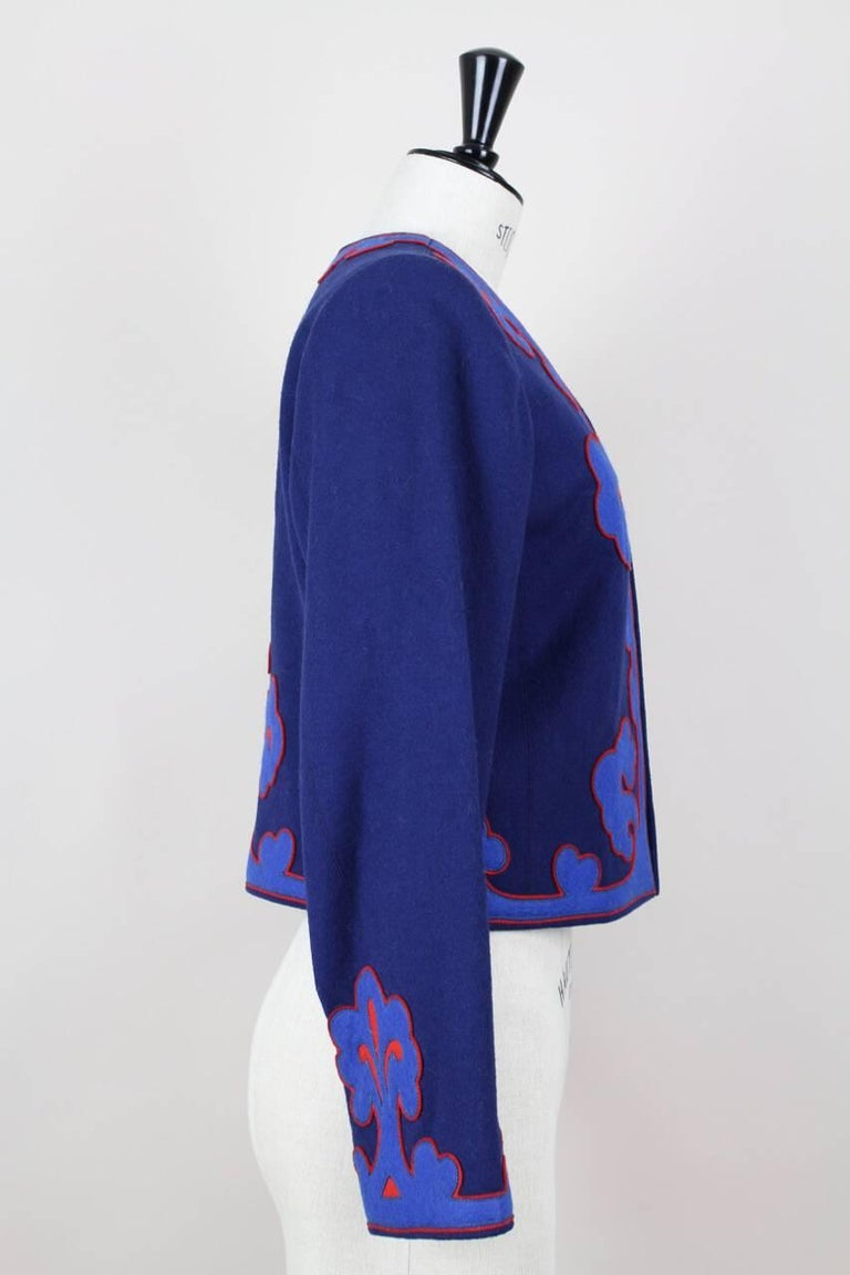 Yves Saint Laurent Appliquéd Cropped Royal Blue Wool Bolero Jacket Blazer, 1978  3