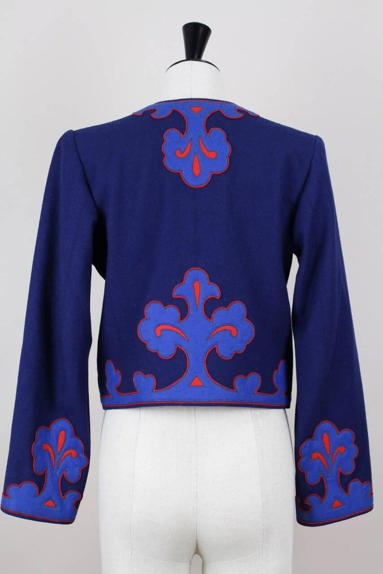 Yves Saint Laurent Appliquéd Cropped Royal Blue Wool Bolero Jacket Blazer, 1978  2