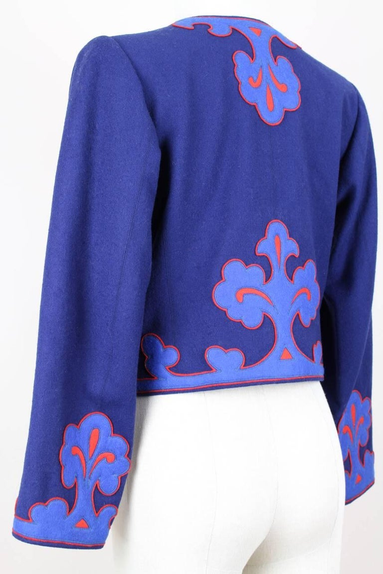 Yves Saint Laurent Appliquéd Cropped Royal Blue Wool Bolero Jacket Blazer, 1978  7