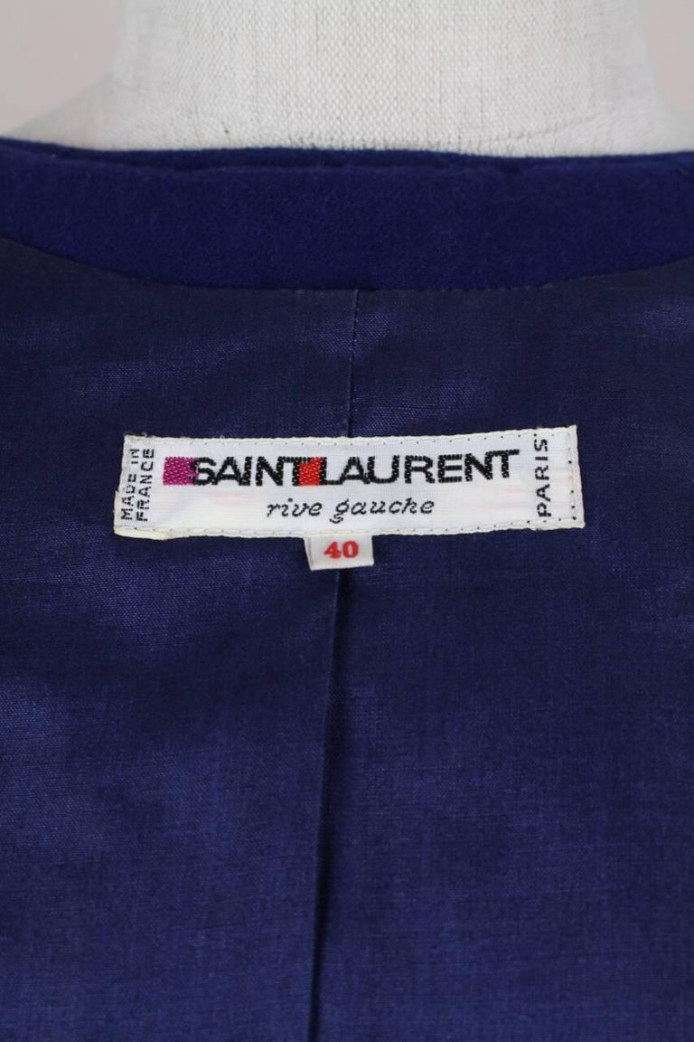 Yves Saint Laurent Appliquéd Cropped Royal Blue Wool Bolero Jacket Blazer, 1978  9