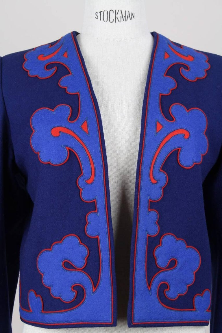 Yves Saint Laurent Appliquéd Cropped Royal Blue Wool Bolero Jacket Blazer, 1978  4