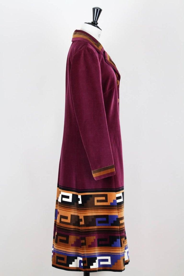 Brown Roberta di Camerino Ruby Red Aztec Design Velvet Coat Size M/L, 1970s  For Sale
