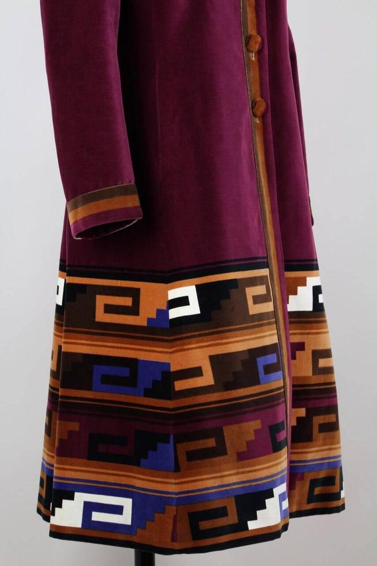 Roberta di Camerino Ruby Red Aztec Design Velvet Coat Size M/L, 1970s  For Sale 3
