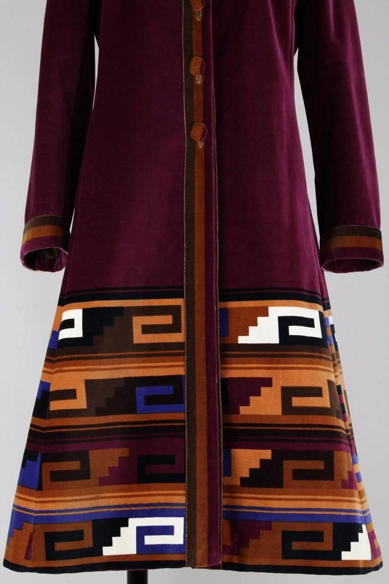 Roberta di Camerino Ruby Red Aztec Design Velvet Coat Size M/L, 1970s  For Sale 2