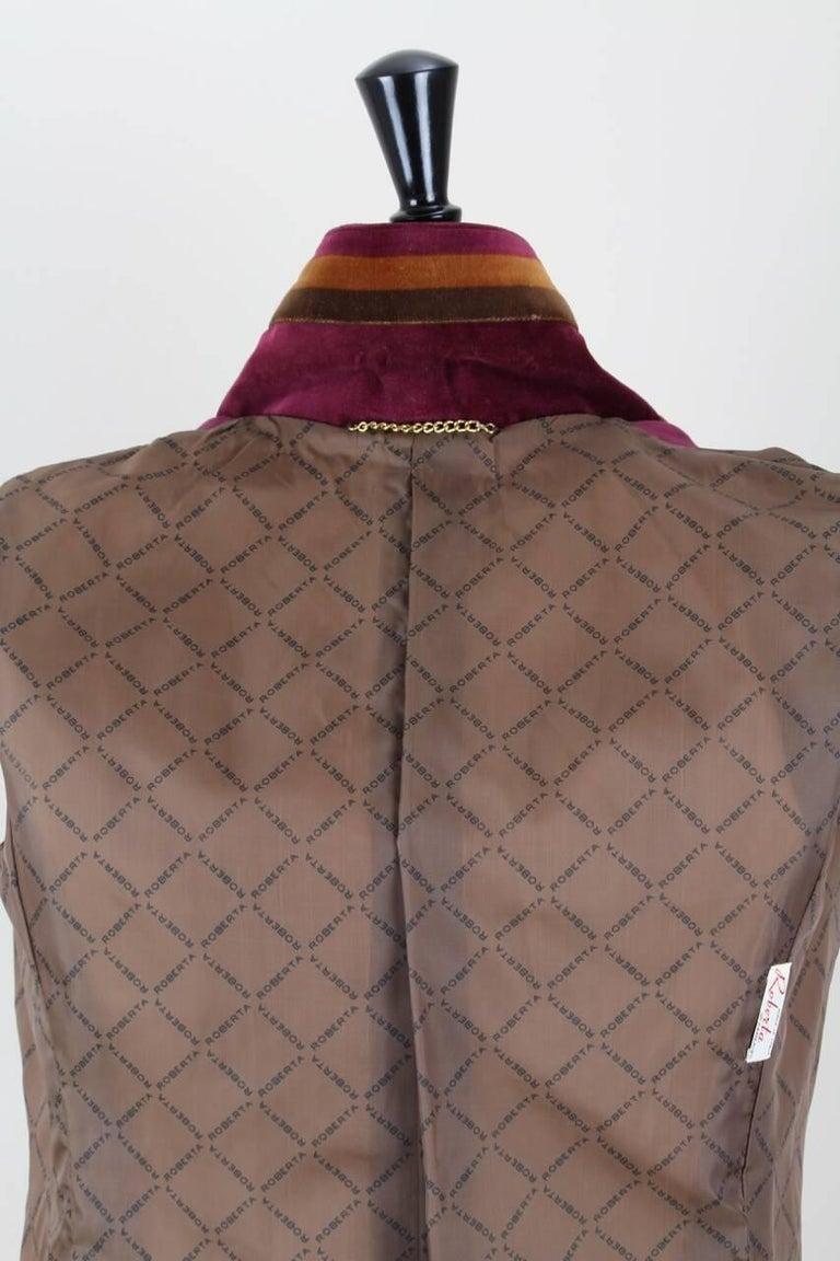Roberta di Camerino Ruby Red Aztec Design Velvet Coat Size M/L, 1970s  For Sale 4