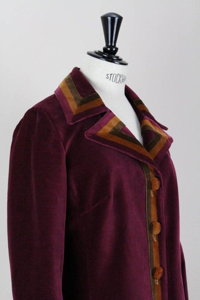 Roberta di Camerino Ruby Red Aztec Design Velvet Coat Size M/L, 1970s  For Sale 1