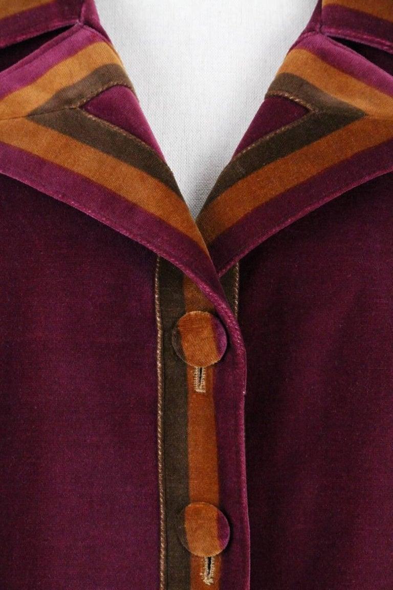 Women's Roberta di Camerino Ruby Red Aztec Design Velvet Coat Size M/L, 1970s  For Sale