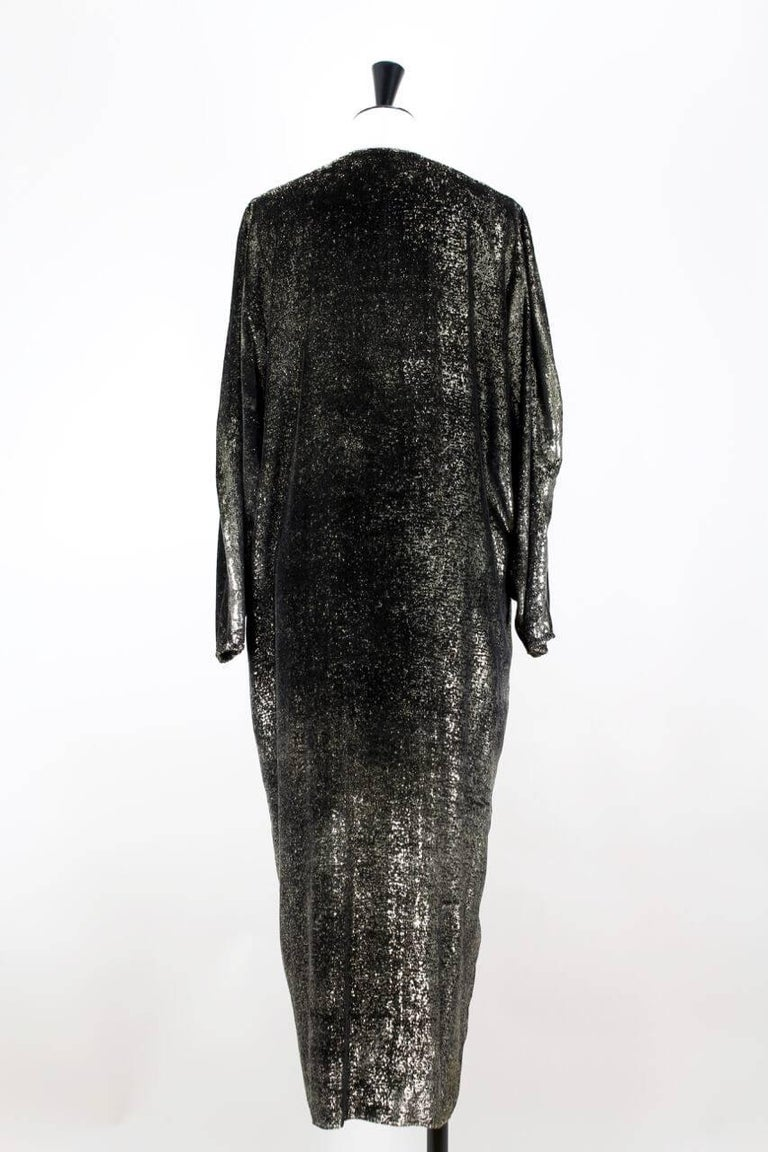 ab798f89439 Custom-Made Metallic Gold and Black Lurex Velvet Bustier Coat Evening  Ensemble For Sale 3
