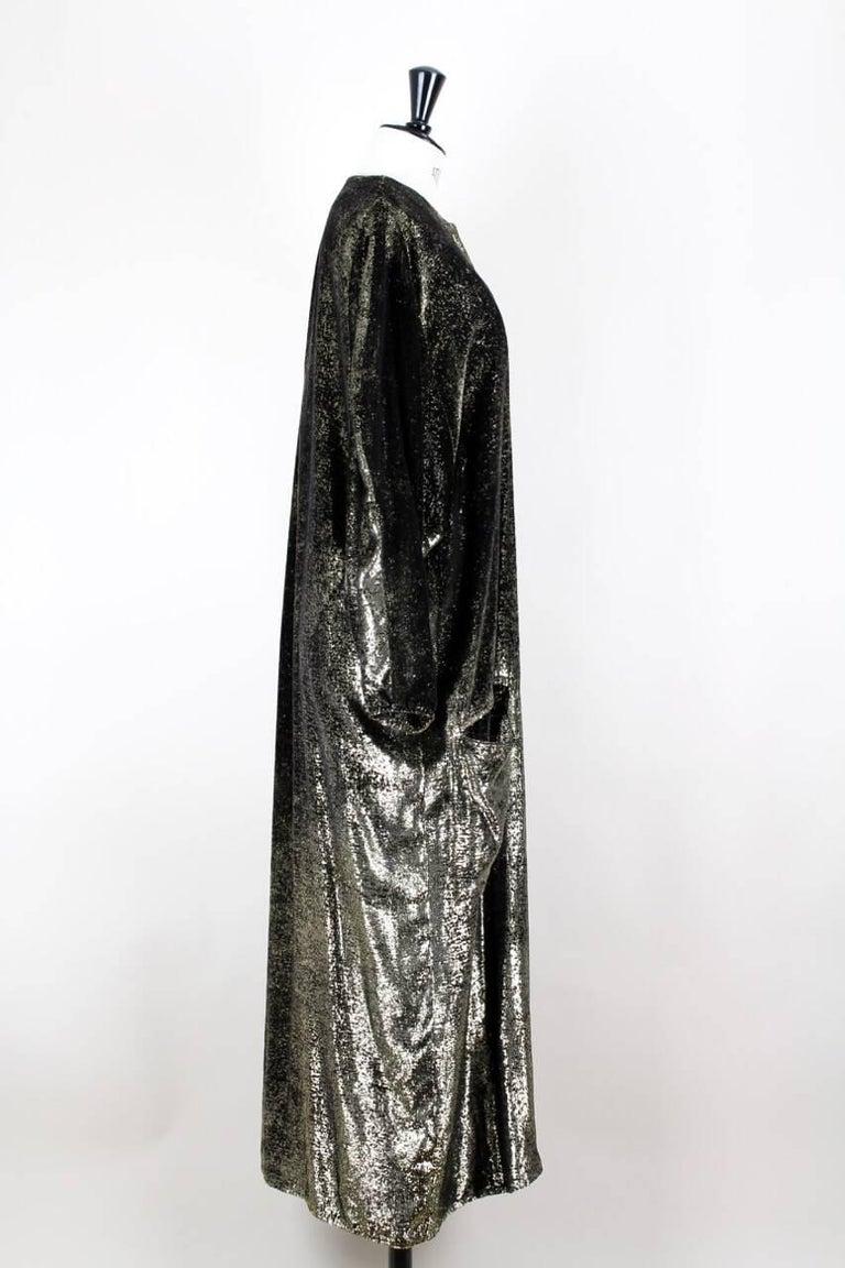 5183710e2e1 Custom-Made Metallic Gold and Black Lurex Velvet Bustier Coat Evening  Ensemble For Sale 4