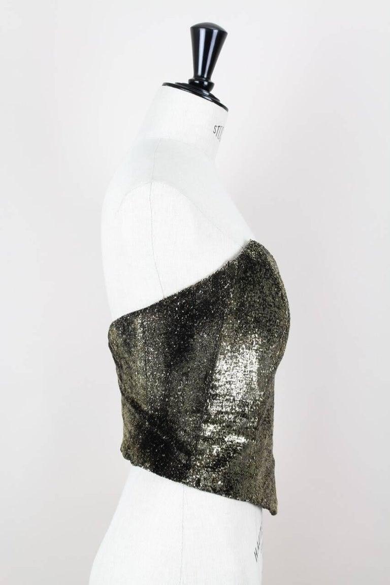 cf8d2a58bd6 Custom-Made Metallic Gold and Black Lurex Velvet Bustier Coat Evening  Ensemble For Sale 1