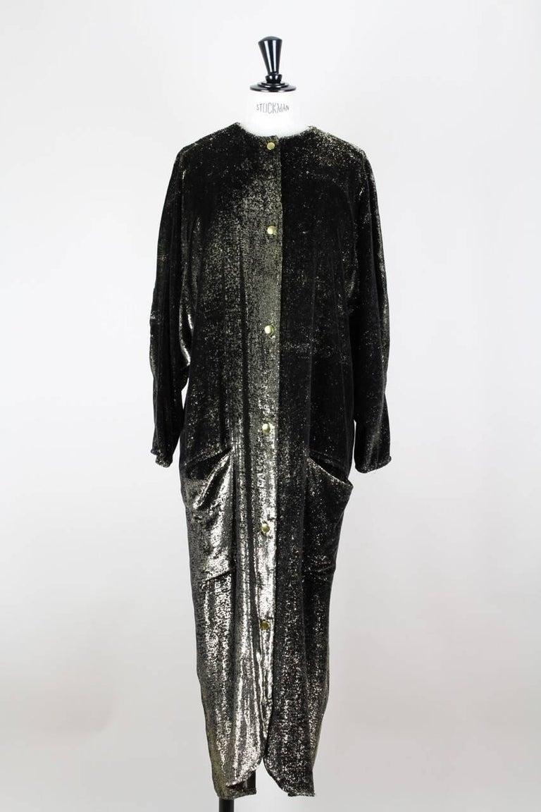 a2c0cac8e4d Custom-Made Metallic Gold and Black Lurex Velvet Bustier Coat Evening  Ensemble For Sale 2