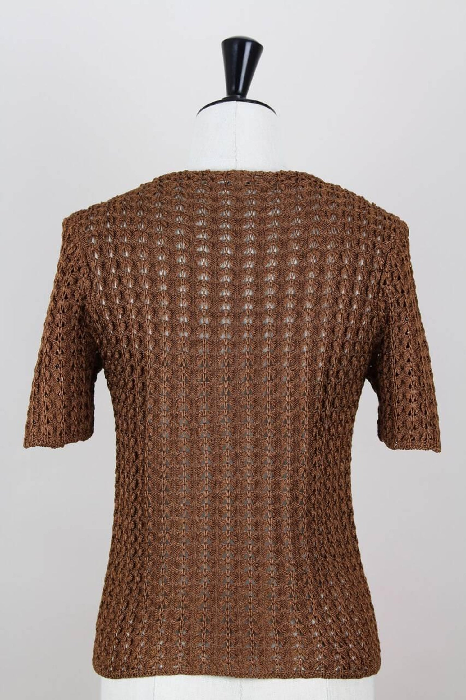 9a3ccc88cad2e1 Yves Saint Laurent YSL Brown Openwork Knit Pullover Sweater Top, 1980s For  Sale at 1stdibs
