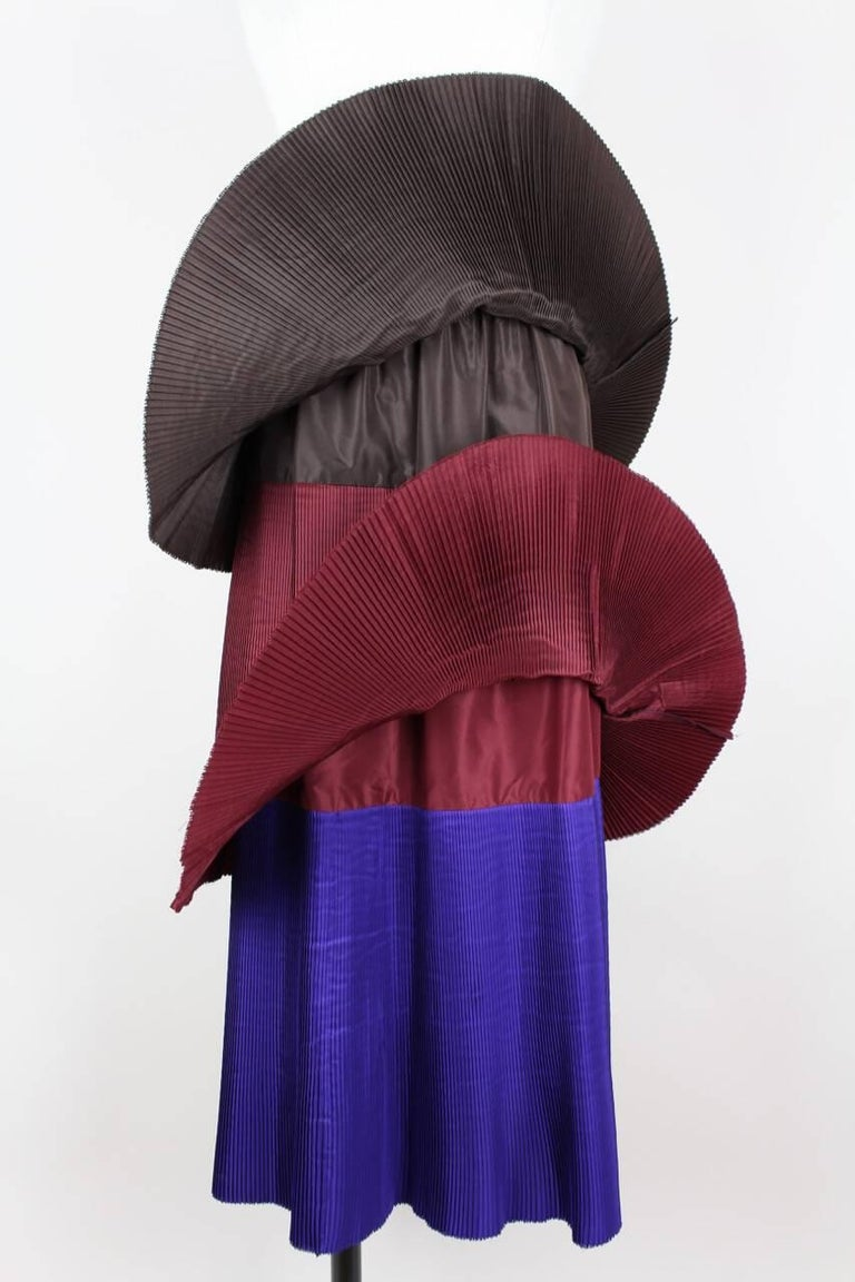 Yves Saint Laurent YSL Colour Block Pleated Tiered Silk Skirt With Sash, 1980s  For Sale 2