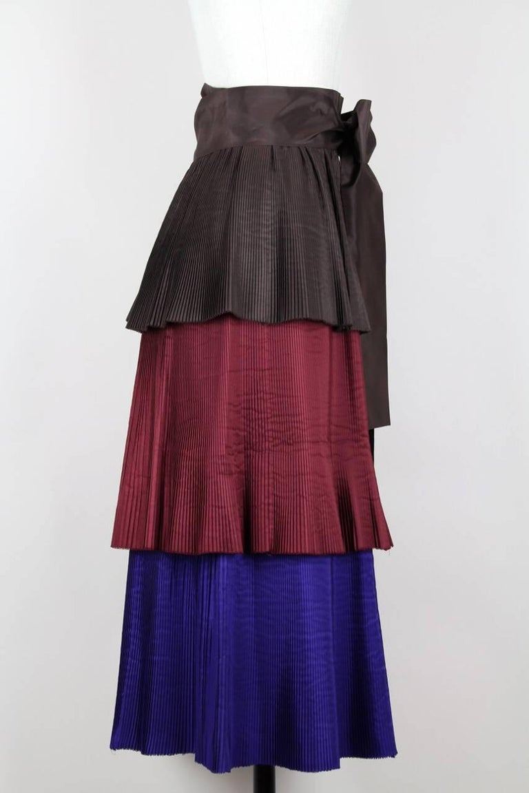 Black Yves Saint Laurent YSL Colour Block Pleated Tiered Silk Skirt With Sash, 1980s  For Sale