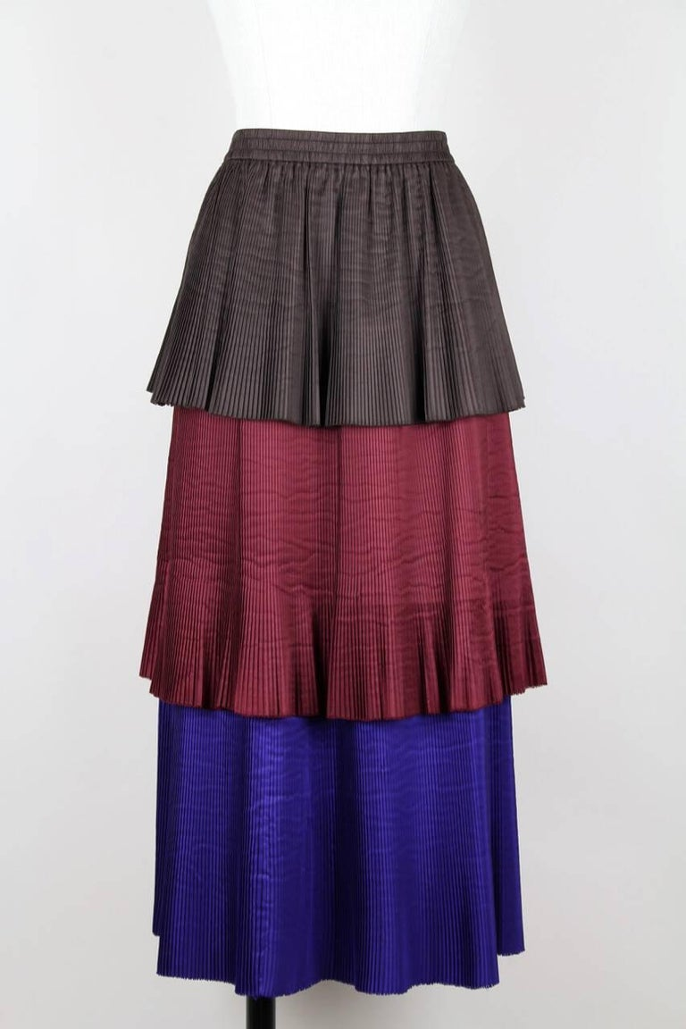 Yves Saint Laurent YSL Colour Block Pleated Tiered Silk Skirt With Sash, 1980s  In Excellent Condition For Sale In Munich, DE