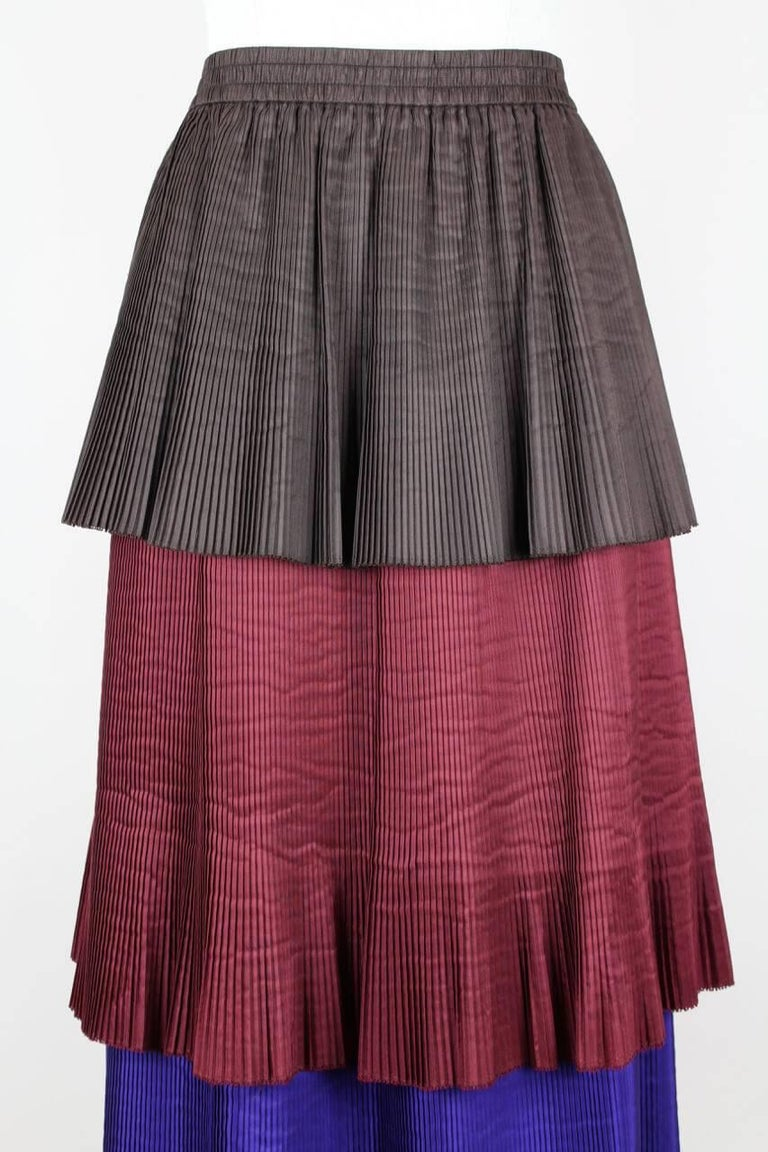 Women's Yves Saint Laurent YSL Colour Block Pleated Tiered Silk Skirt With Sash, 1980s  For Sale