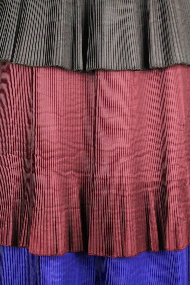 Yves Saint Laurent YSL Colour Block Pleated Tiered Silk Skirt With Sash, 1980s  For Sale 1