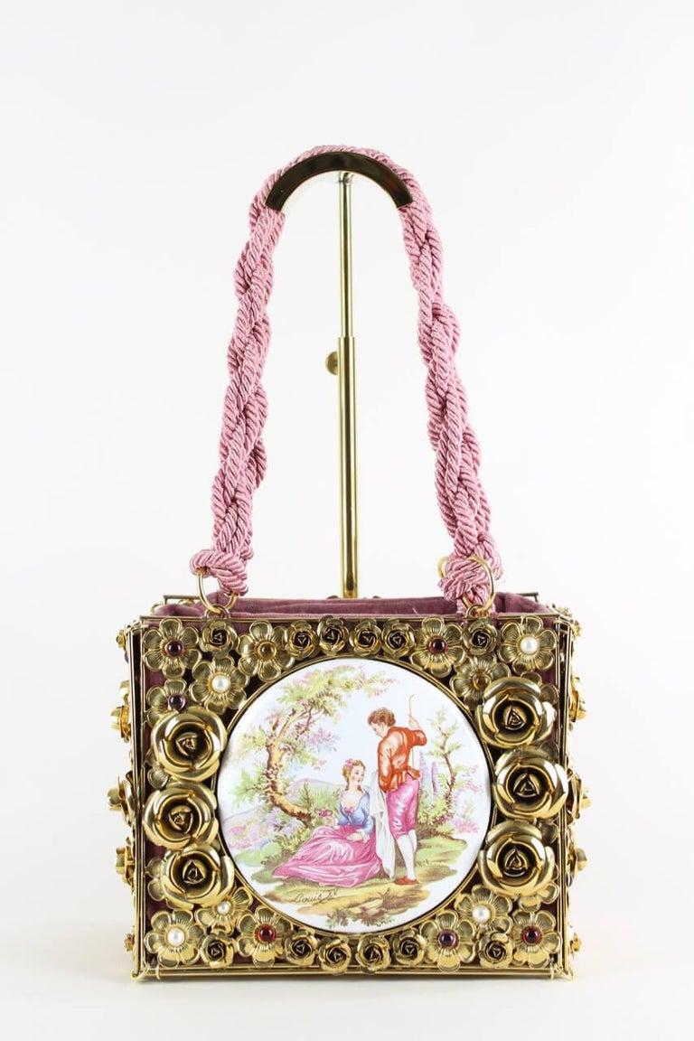 Beige Dolce & Gabbana Couture Runway Floral Design Metal & Porcelain Bag, 1980s/1990s For Sale