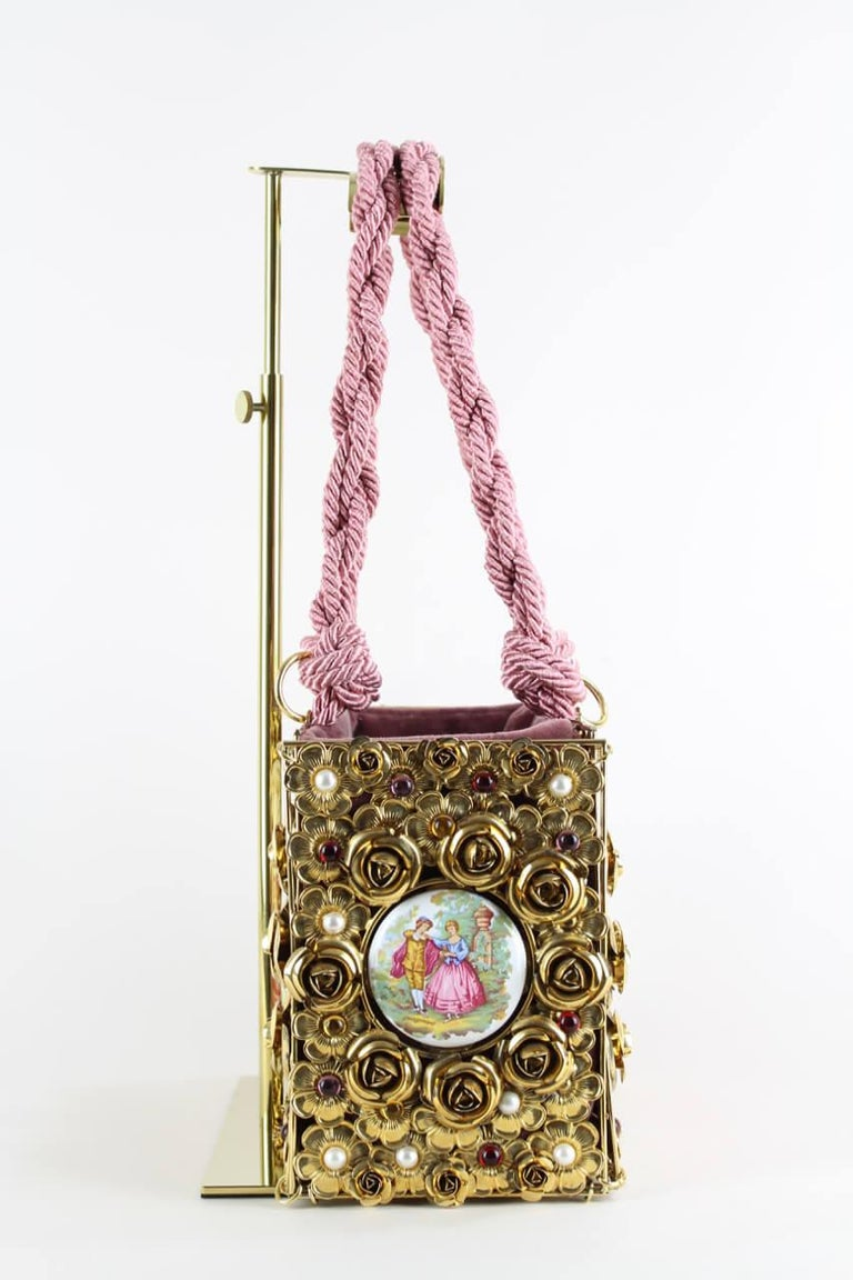 Dolce & Gabbana Couture Runway Floral Design Metal & Porcelain Bag, 1980s/1990s In Excellent Condition For Sale In Munich, DE