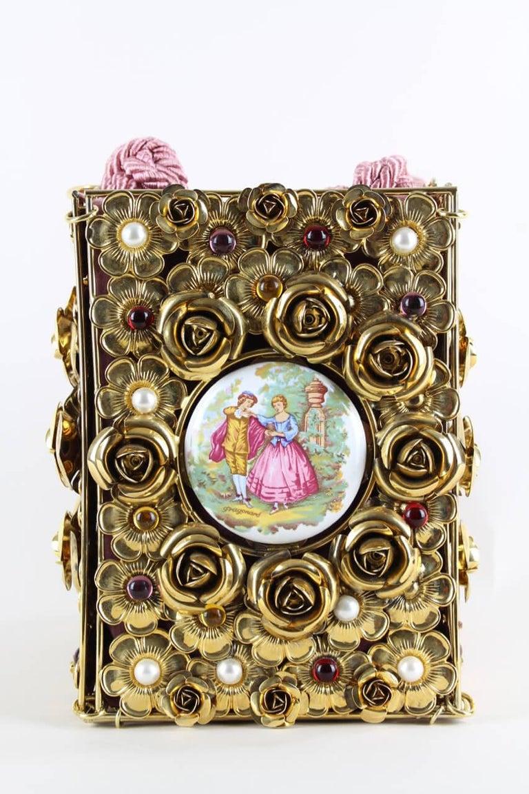 Dolce & Gabbana Couture Runway Floral Design Metal & Porcelain Bag, 1980s/1990s For Sale 1
