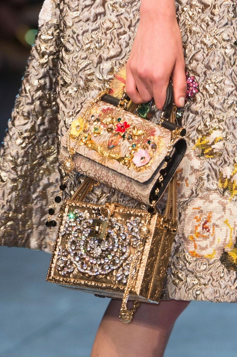 Dolce & Gabbana Couture Runway Floral Design Metal & Porcelain Bag, 1980s/1990s For Sale 6