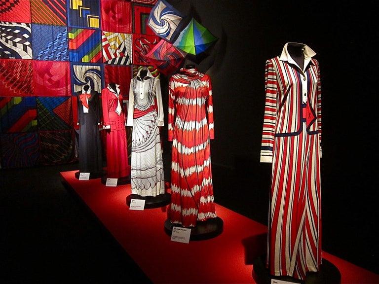 Roberta di Camerino Red Orange Jersey Trompe l'Oeil Print Maxi Dress, 1970s  For Sale 6