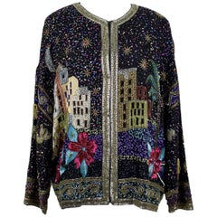 Laurence Kazar The Arabian Nights Sequined And Beaded Silk Evening Jacket, 1980s