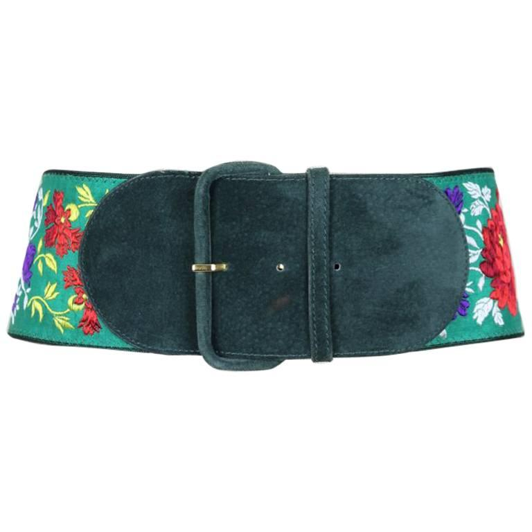 1980s Georges Rech Embroidered Floral Green Suede & Viscose Waist Belt