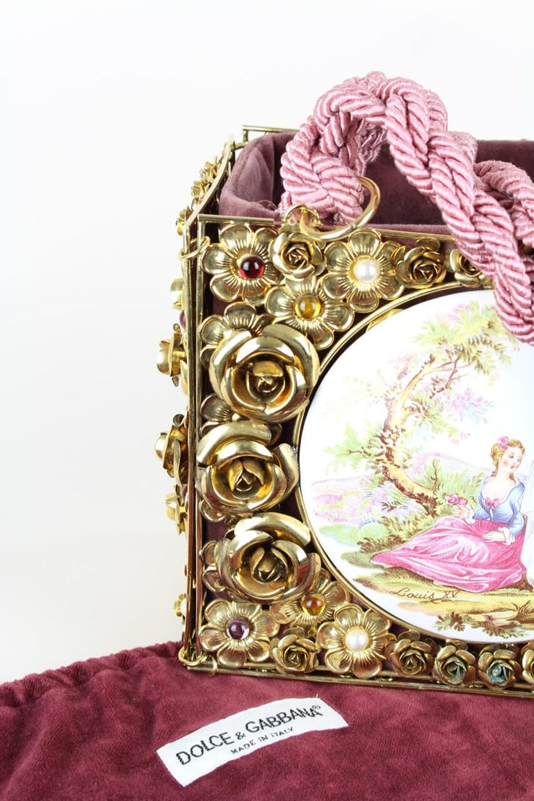 Dolce & Gabbana Couture Runway Floral Design Metal & Porcelain Bag, 1980s/1990s For Sale 4