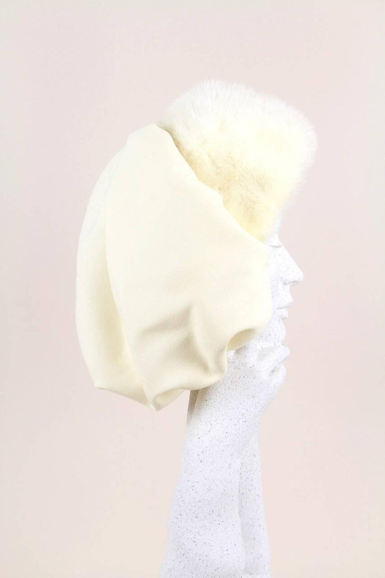 White Custom-Made 1950s Ivory Bonnet-Style Hat With Mink Fur Trim For Sale